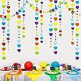 40 Ft Rainbow Love Heart Garland Colorful Hanging Paper Heart Streamer Multicolor Banner for Birthday Anniversary Bachelorett