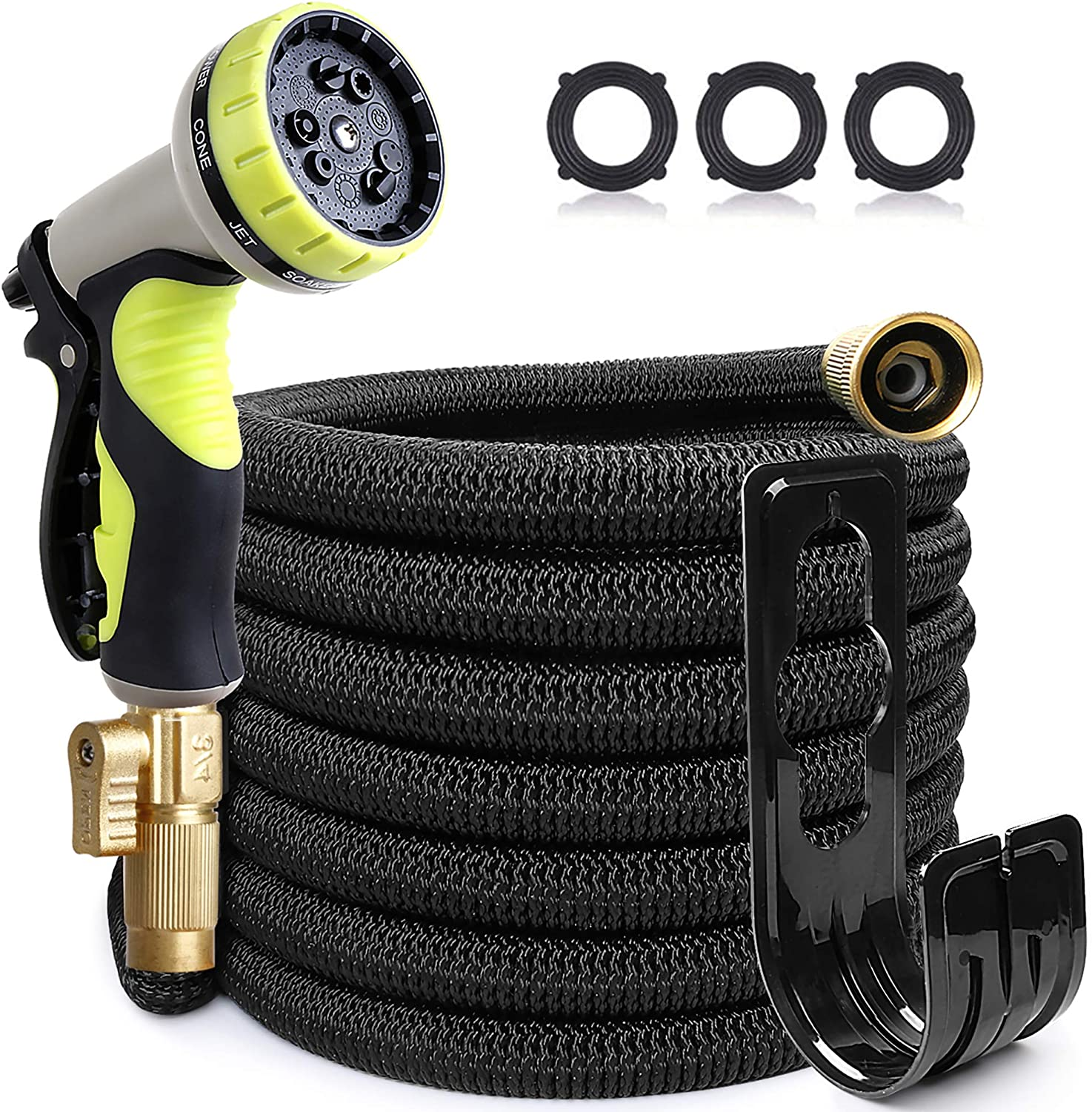 EOOIO 25FT Garden Hose, Water Hose with 100% Solid Brass Valve 9 Function Hose Nozzle, Flexible Outdoor Hose Lightweight Gardening Yard Hoses