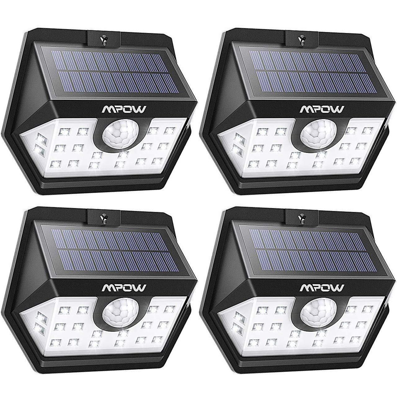 Mpow Luz Solar de Exterior, Lámpara Solar de 3-8M Detección, 270º Gran Angular de Iluminación con 120° Sensor de Movimiento Impermeable 4 Piezas product image