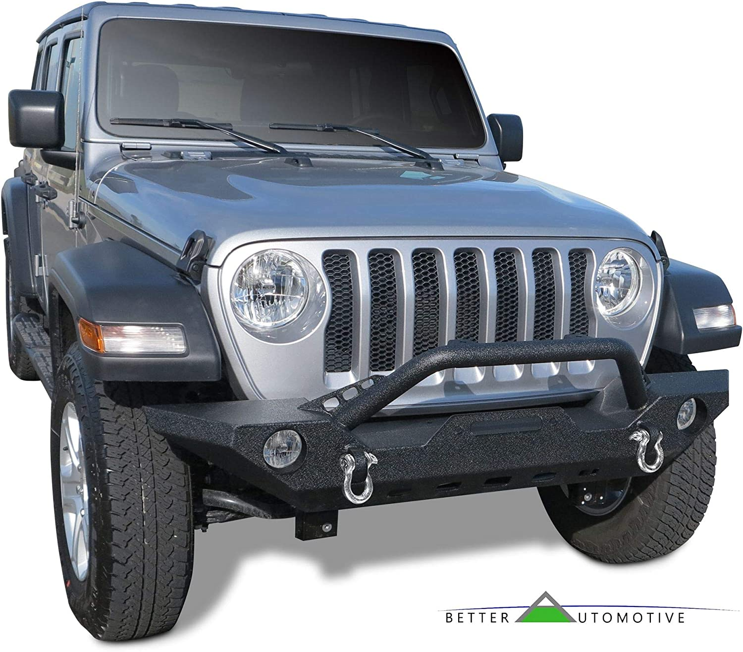 BETTER AUTOMOTIVE Front Bumper Fit 2007-2020 Jeep Wrangler JK//2018-2020 Jeep Wrangler JL 2020 Jeep Gladiator Textured Heavy Duty with OE Fog Light Hole D-Ring Winch Mount Plate Rock Crawler Off road