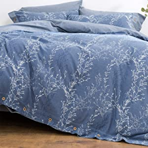 OREISE Duvet Cover Set Full/Queen Size Washed Cotton Yarn, Jacquard Blue and White Thin Branch Pattern Floral Style 3Piece Bedding Set
