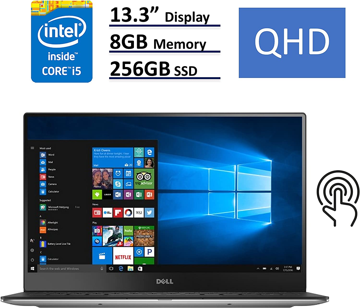 "Dell XPS 9350-4007SLV UltraBook: 13.3"" QHD (3200x1800) Touchscreen 