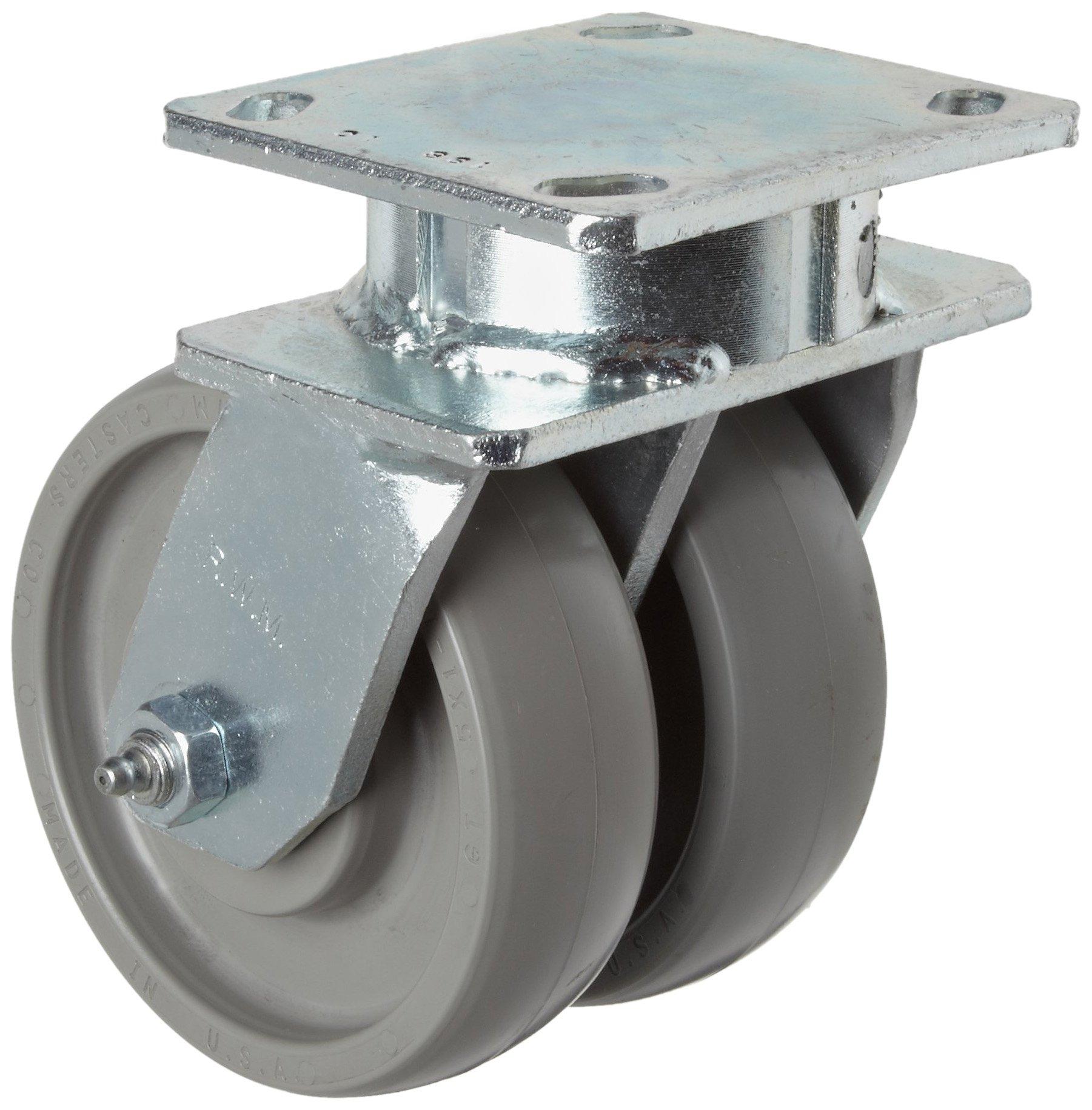RWM Casters 2-75 Series Plate Caster, Swivel, Dual Wheel, Kingpinless, Rubber on Aluminum Wheel, Ball Bearing, 1600 lbs Capacity, 5'' Wheel Dia, 2'' Wheel Width, 7-1/2'' Mount Height, 6-1/2'' Plate Length, 4-1/2'' Plate Width