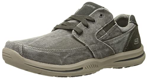 Skechers USA Mens Elected Fultone Lace-Up Oxford Sneaker,Light Grey,11.5 M