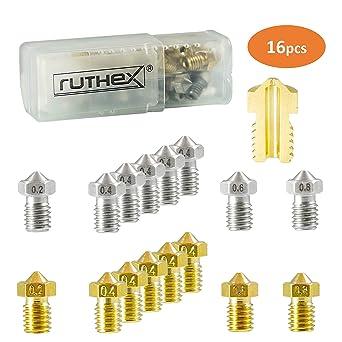 ruthex V6 juego de boquillas de impresora 3D [16 piezas] | 8x ...