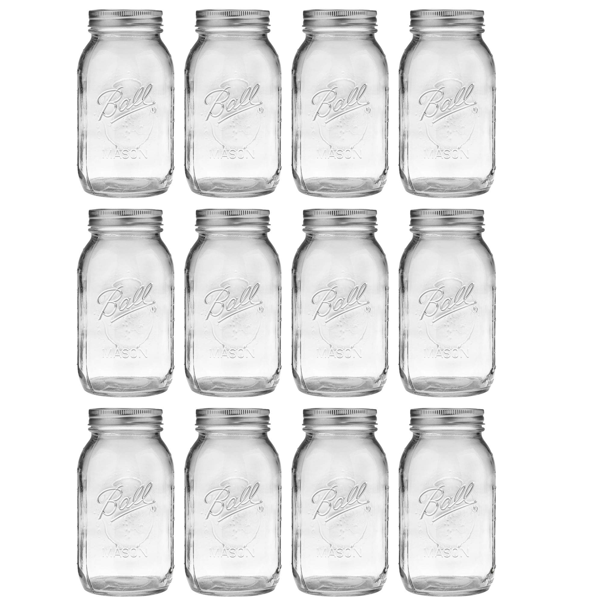 Ball Regular Mouth Quart 12 Pieces Jars (32oz) Made in USA, Clear by Ball