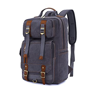 senpaic lienzo Vintage mochila mochila de senderismo mochila para los hombres de viaje Camping Senderismo Grey
