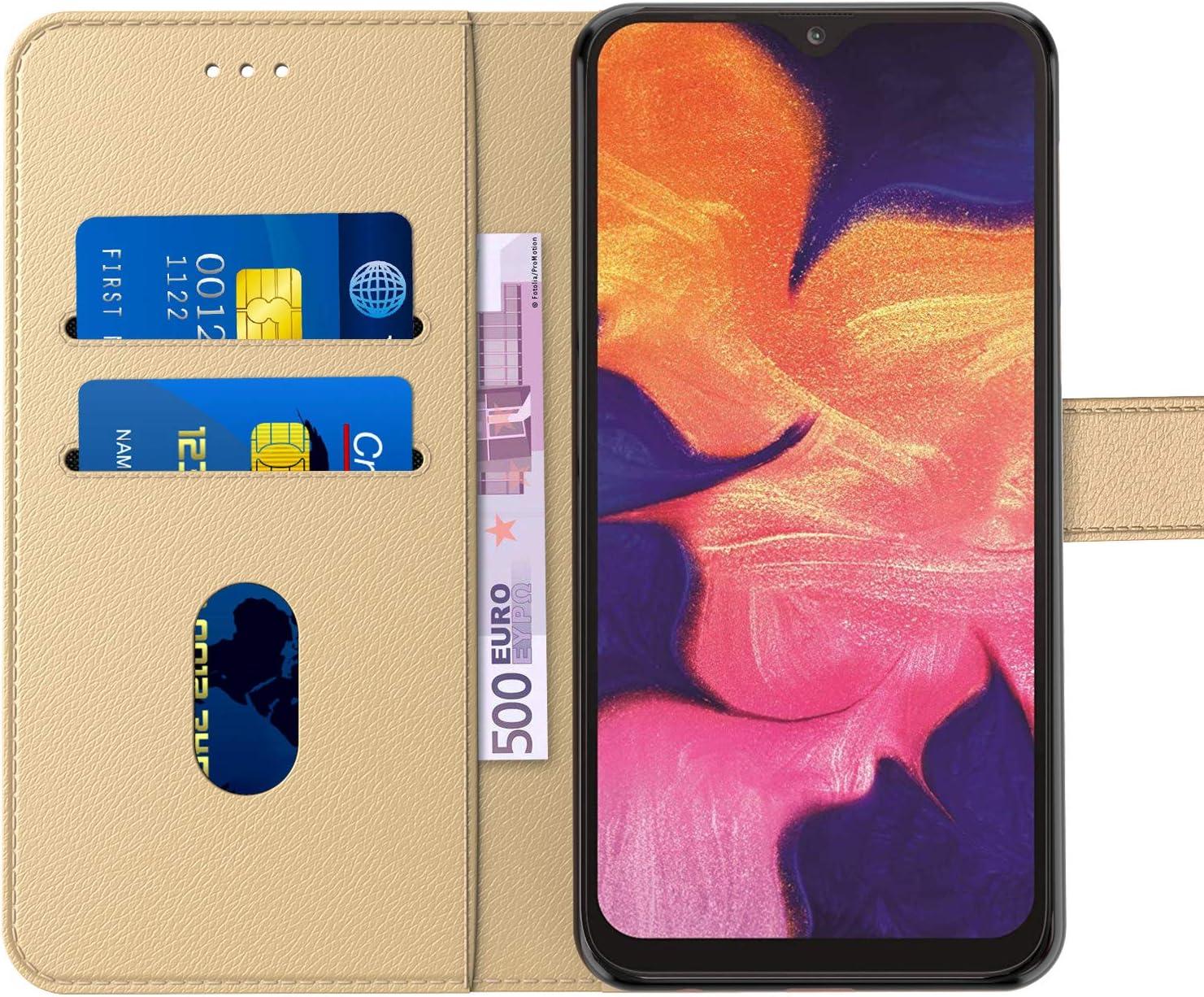 pour Galaxy A10 Emplacements Cartes Tenphone Etui Coque pour Samsung Galaxy A10 6,20 Pouces , Dore , Protection Housse en Cuir PU Portefeuille Livre, Fonction Support Languette Magn/étique ,