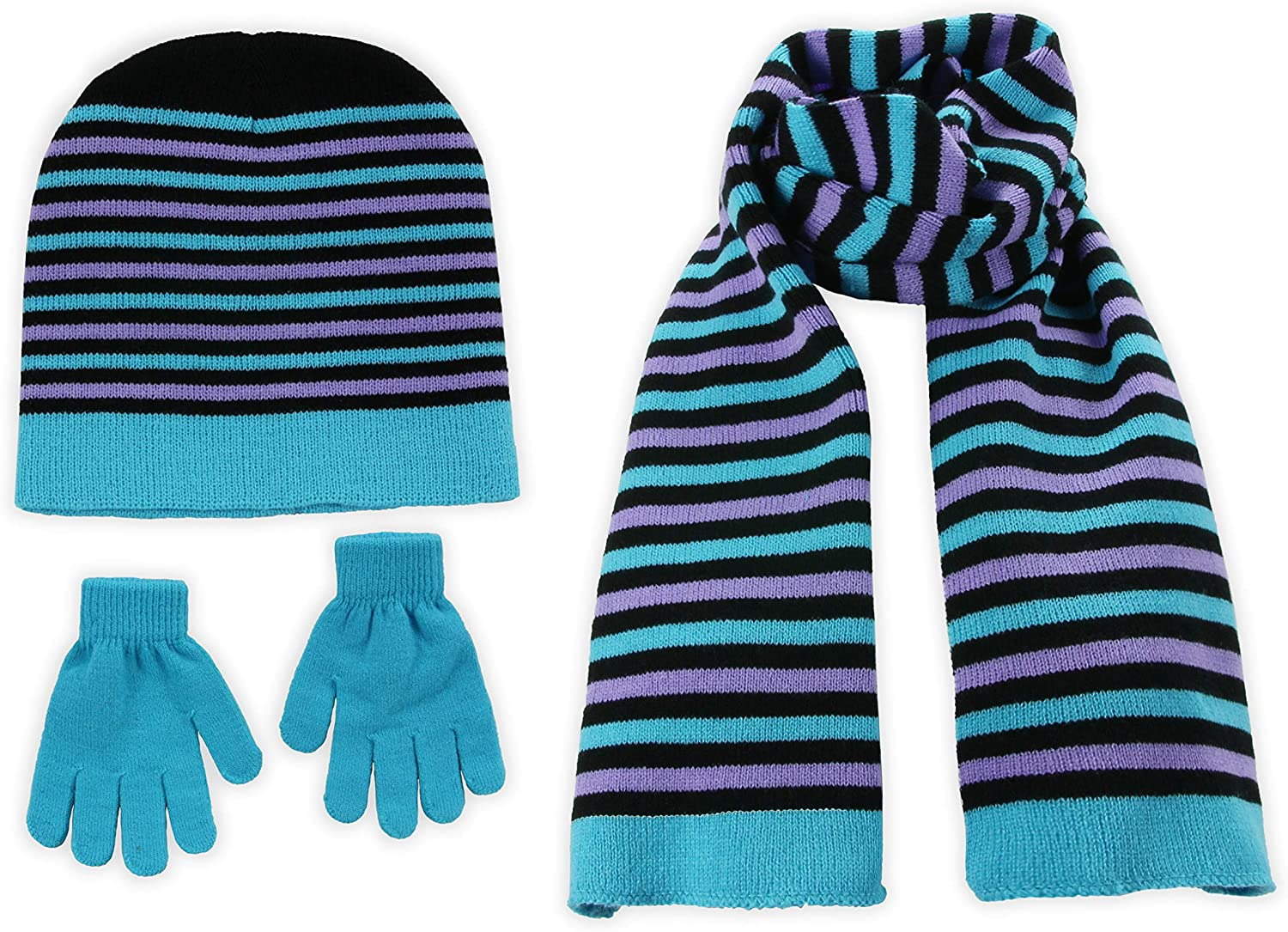 Kids Girls Knit Pompom Beanie Hat Scarf and Gloves Set One Size Fits Most S.W.A.K See More Colors