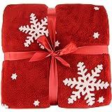 Couverture, Couvre-lit, salle de couverture polaire douce, Flocon de neige, Noël, Rouge