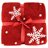 Ideal Textiles Luxury Christmas Nordic Throws, Snowflake Fleece Blankets, Suitable for Sofa Bed or Chair (130cm x 180cm)