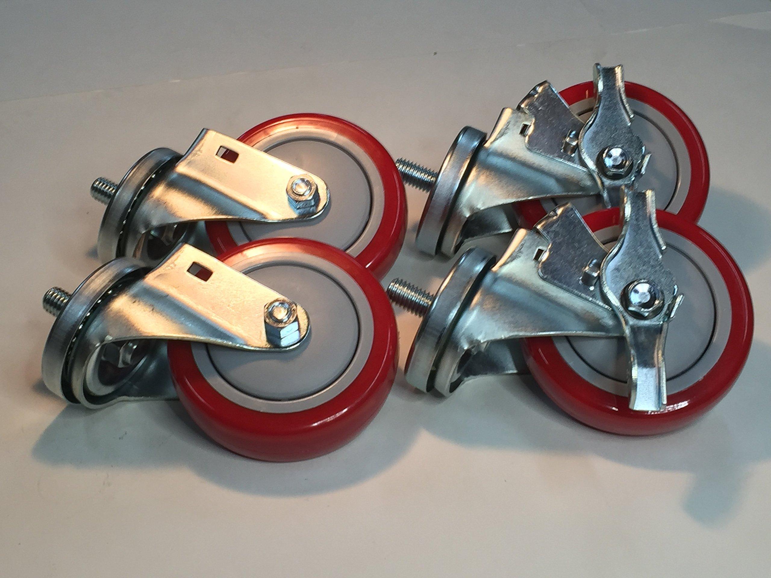 Transmission Jack Casters, Set of 4, (2 Locking and 2 Non Locking)