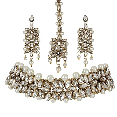 Buy Sadhana Collection Traditional Jewellery Kundan Pearl Necklace Choker Set With Earrings For Women At Amazon In
