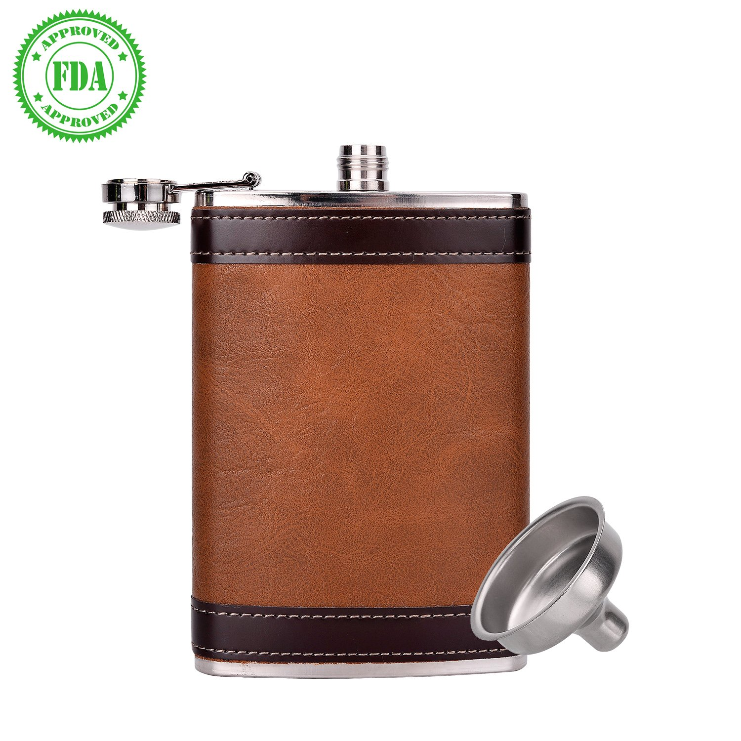 Stainless Steel Hip Flask Pocket Bottle for Liquor Wine Alcohol|with Leather Case|Portable Flagon with Funnel|Liquor Container |18ounce 2 Cups Included|dark brown (brown-s)