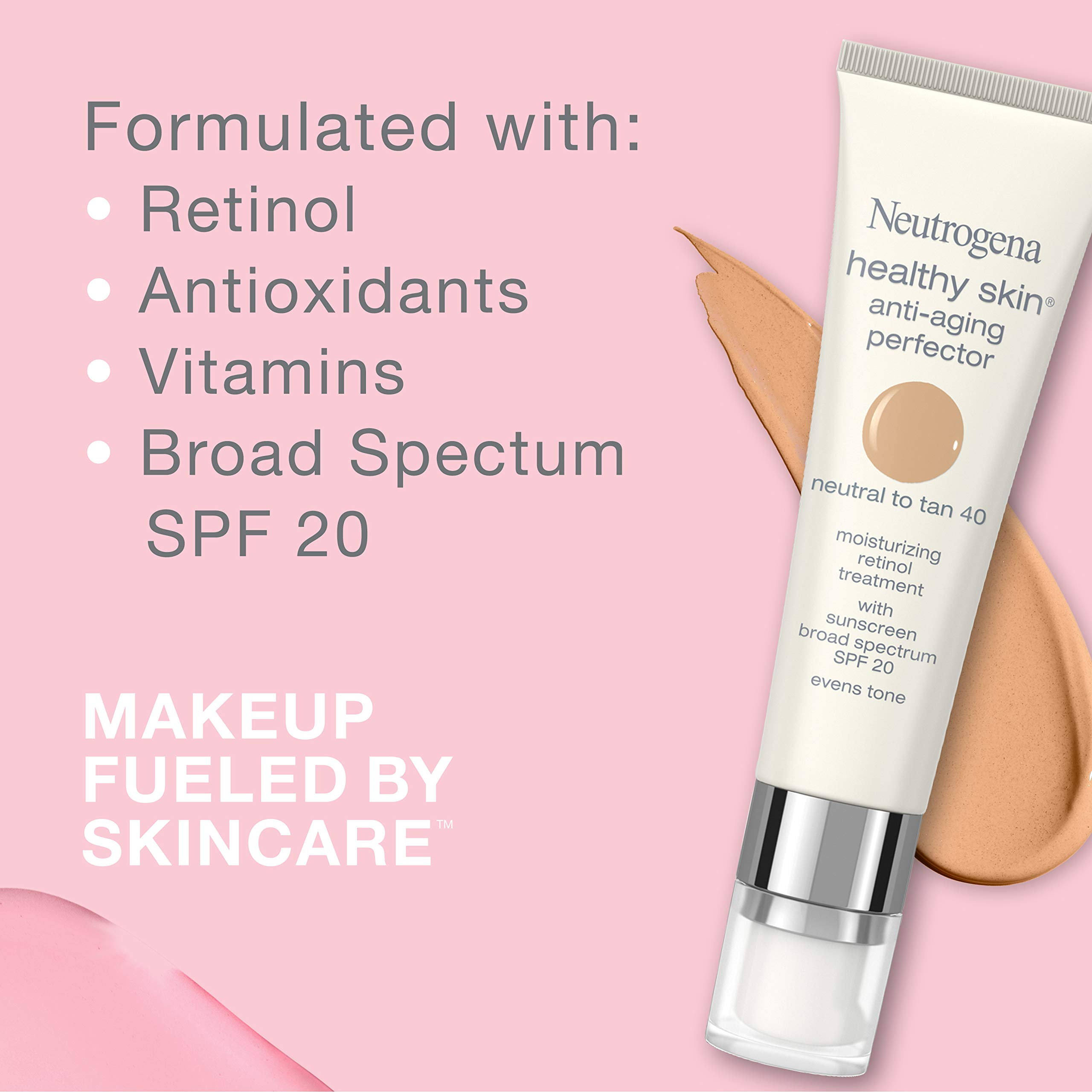 Neutrogena Healthy Skin Anti-Aging Perfector Tinted Facial Moisturizer and Retinol Treatment with Broad Spectrum SPF 20 Sunscreen