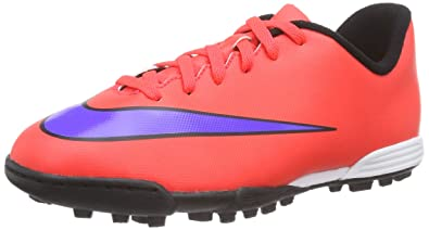 2869a24fc3 Nike Unisex Kids  Jr. Mercurial Vortex II TF Football Training Shoes Red  Size