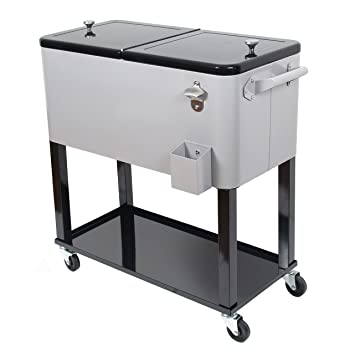 UPHA 80 Quart Rolling Ice Chest Portable Party Bar Drink Entertaining  Outdoor Patio Cooler Cart On
