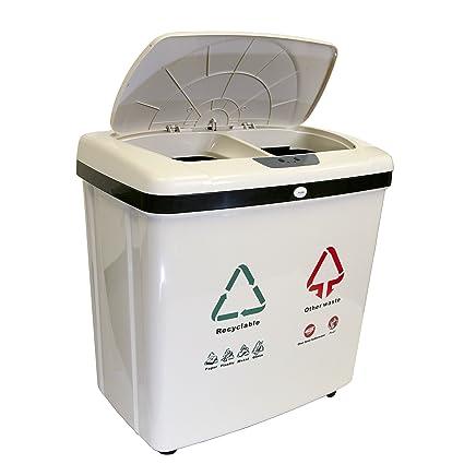 iTouchless Barra de Basura Totalmente automática de 2 Compartimentos para Reciclaje sin Contacto NX 16 galones. Pasa ...