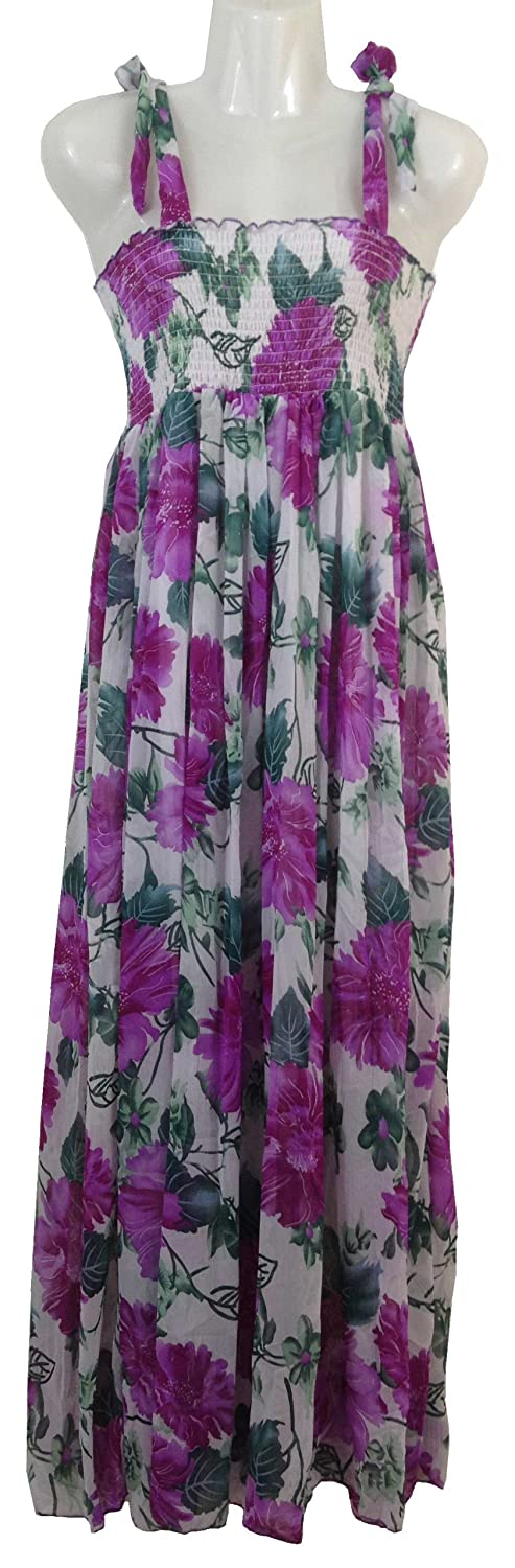 Airy Maxi Dress / Summer Dress in trendy hippie look with smocked top & straps, for leisure & beach, various colours, One Size suitable to size 16 (UK Size)