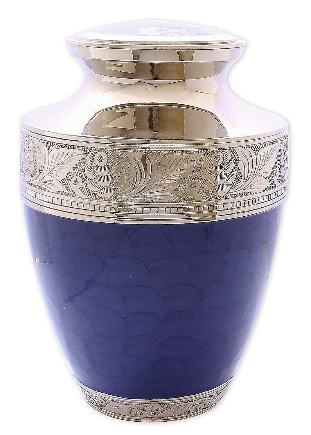 Adult Cremation Urn for Ashes Large Size Funeral Memorial Urn Indigo Blue with Silver Embossed Design UrnsWithLove