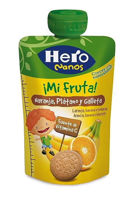 Hero Bolsita de Fruta Naranja, Plátano y Galleta - 100 g