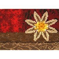 M.C.G. Textiles Floral Geometric Latch Hook Rug Kit, Red