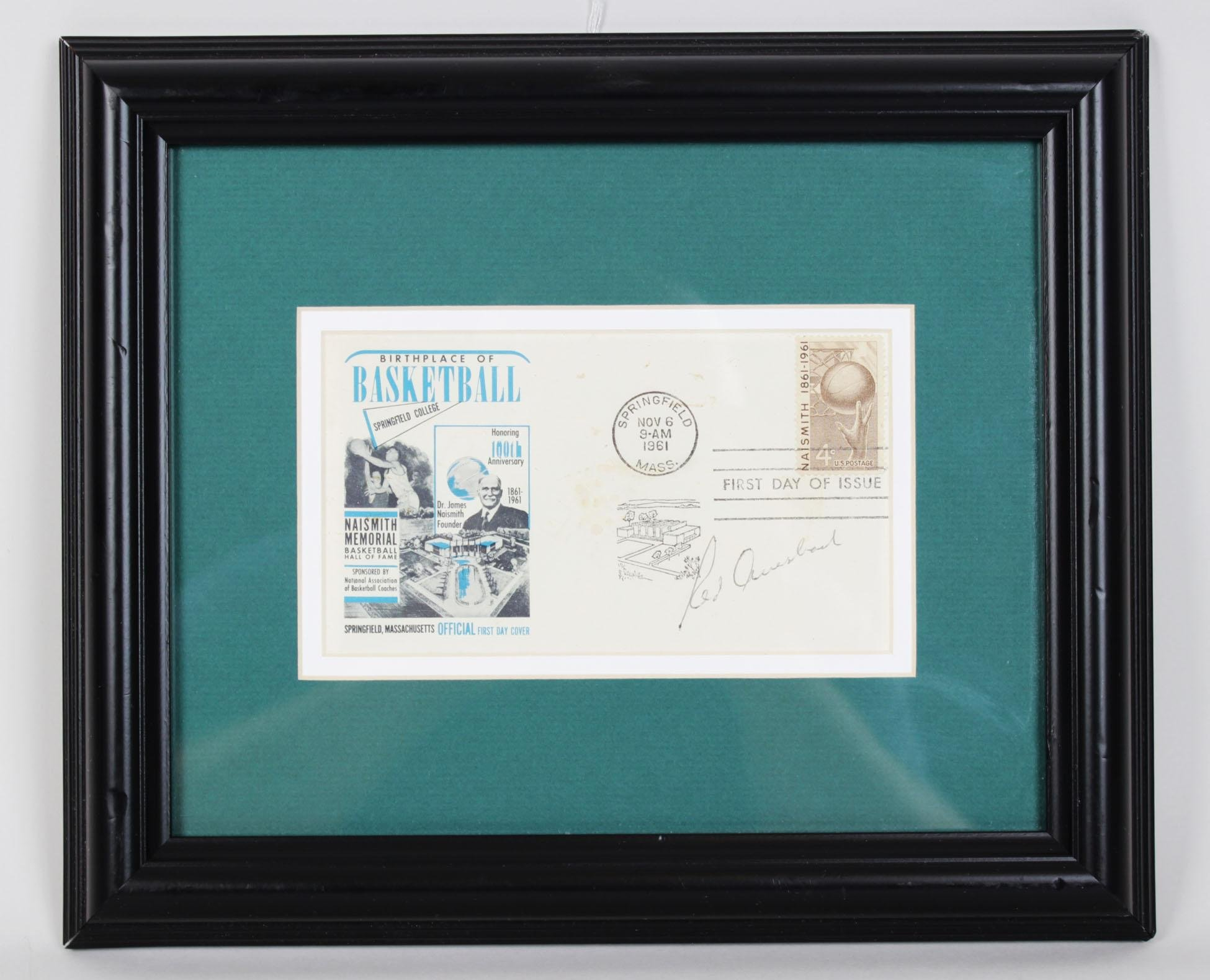 Red Auerbach Signed Cachet Display Celtics Coach COA JSA Certified NBA Cut Signatures