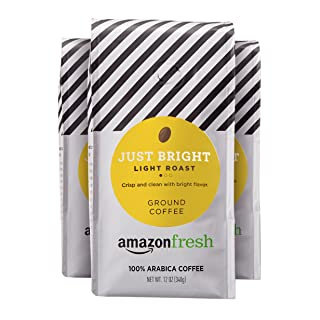 AmazonFresh Just Bright Ground Coffee, Light Roast, 12 Ounce (Pack of 3)