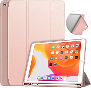 Soke iPad 7th/8th Generation Case,Compatible iPad 8th Generation(2020 Releases),iPad Case 10.2 Case with Pencil Holder, Lightweight Smart Cover with Soft TPU Back,Auto Sleep/Wake (Gold)