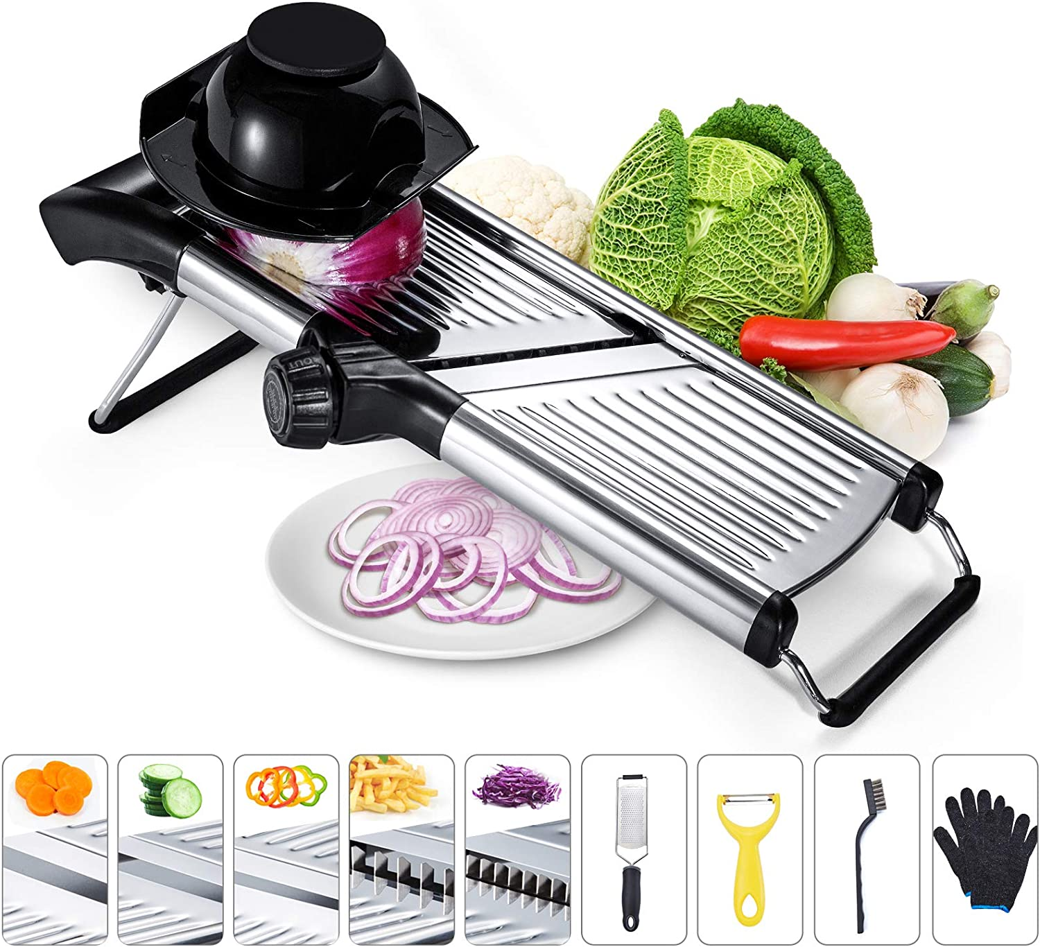 Adjustable Mandoline Food Slicer Stainless Steel Kitchen Food Cutter and Chopper for Vegetable Onion Potato Chip French Fry Julienne Slicer, Come with Guard Gloves Cheese Grater Peeler and Wire Brush
