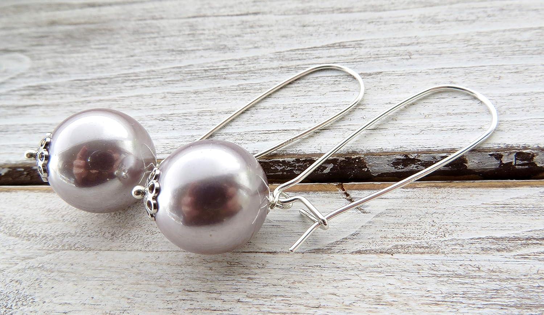 Pendientes de plata de ley 925, pendientes de perlas viola de nacar, para novia, joyas para boda, joyería de moda para las mujeres
