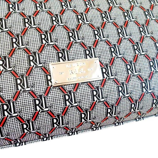 Amazon.com: Lauren Ralph Lauren Helston Barrel Satchel Grey Black Red: Shoes