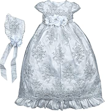 Moon Kitty Baby Girls Beaded Embroideries Baptism Dresses 2 Piece Christening Gown