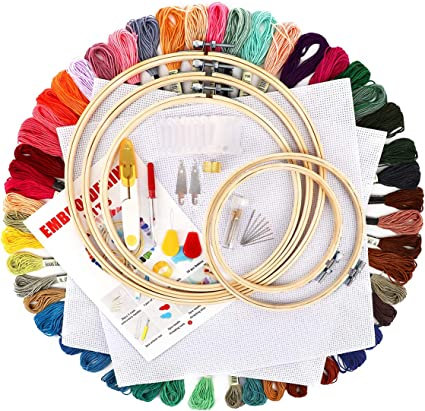 Embroidery Starter Full Kit 2 Pieces Aida Cloth and a Circular Packaging Bag for Cross Stitch Embroidery Craft DIY Pattern 5 Piece Bamboo Embroidery Hoop 50 Color Embroidery Threads