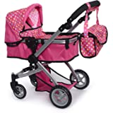 fash n kolor Foldable Pram for Baby Doll with Polka Dots Design with Swiveling Wheel Adjustable Handle