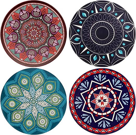White Bamboo Round Lovely Set Of 4 Coaster Set Drinks Tablewear Home Gift