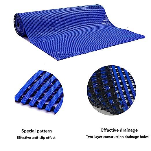 HYSA MAT Commerical PVC Drainage Mat Blue Heavy Duty Anti Fatigue Door Floor Mats Drain Tiles for Home Kitchen Indoor Outdoor Wet Area 23 x 35