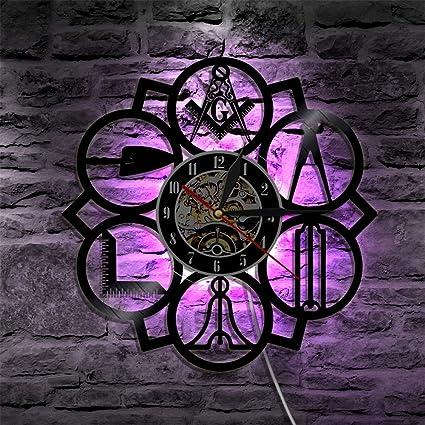 Masonic Home Decor   Amazon Com Jun Kinglive 12inch Masonic Free Mason Logo Led Vinyl