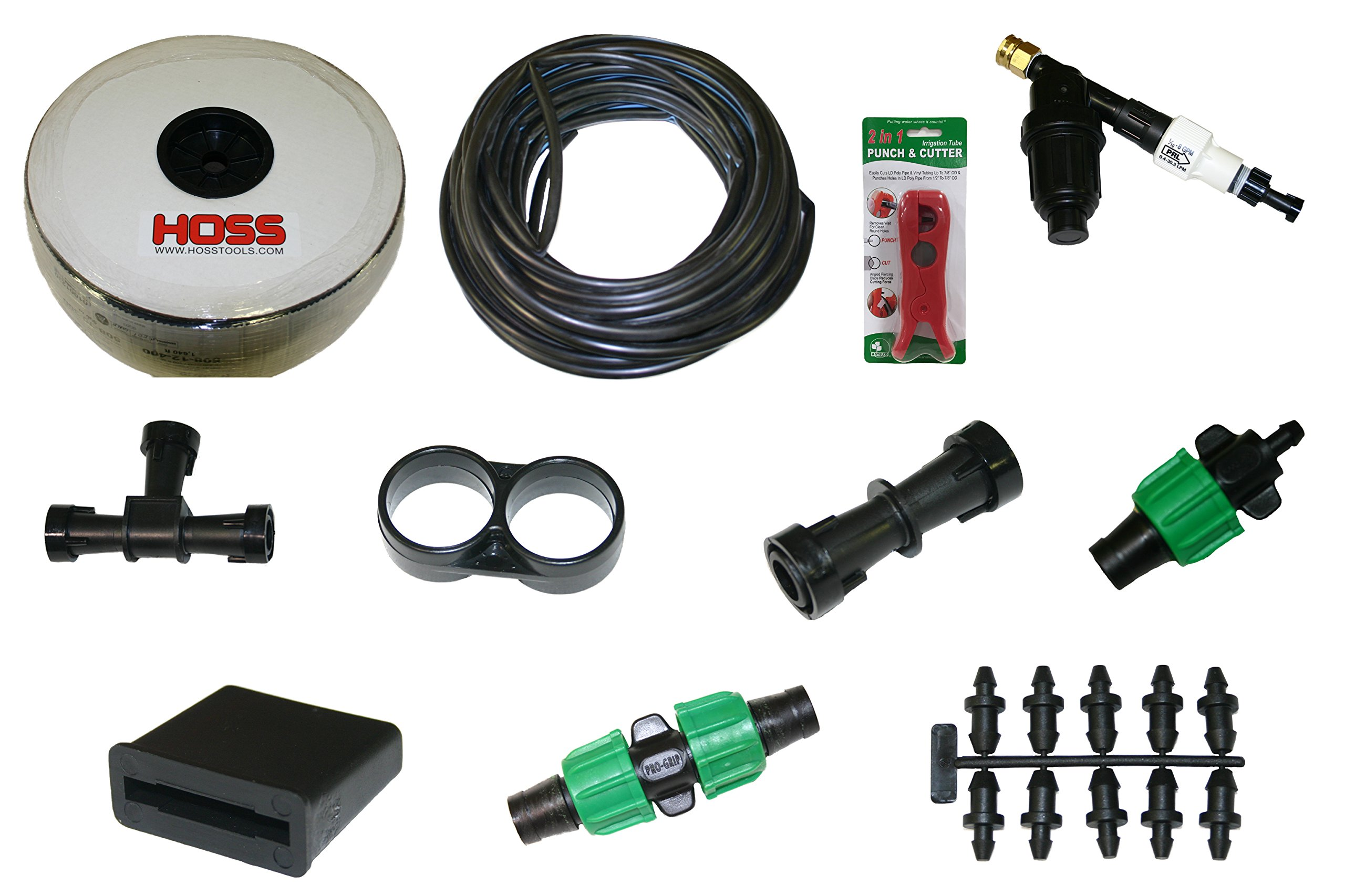 Drip Tape (8 mil) Irrigation Kit for Vegetable Gardens | 1640 ft. Roll | Fittings for 20 Rows
