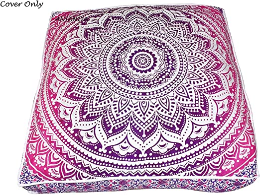 Indian Mandala Meditation Square Ombre Floor Pillow Throw Cushion Cover Pouf 35/""
