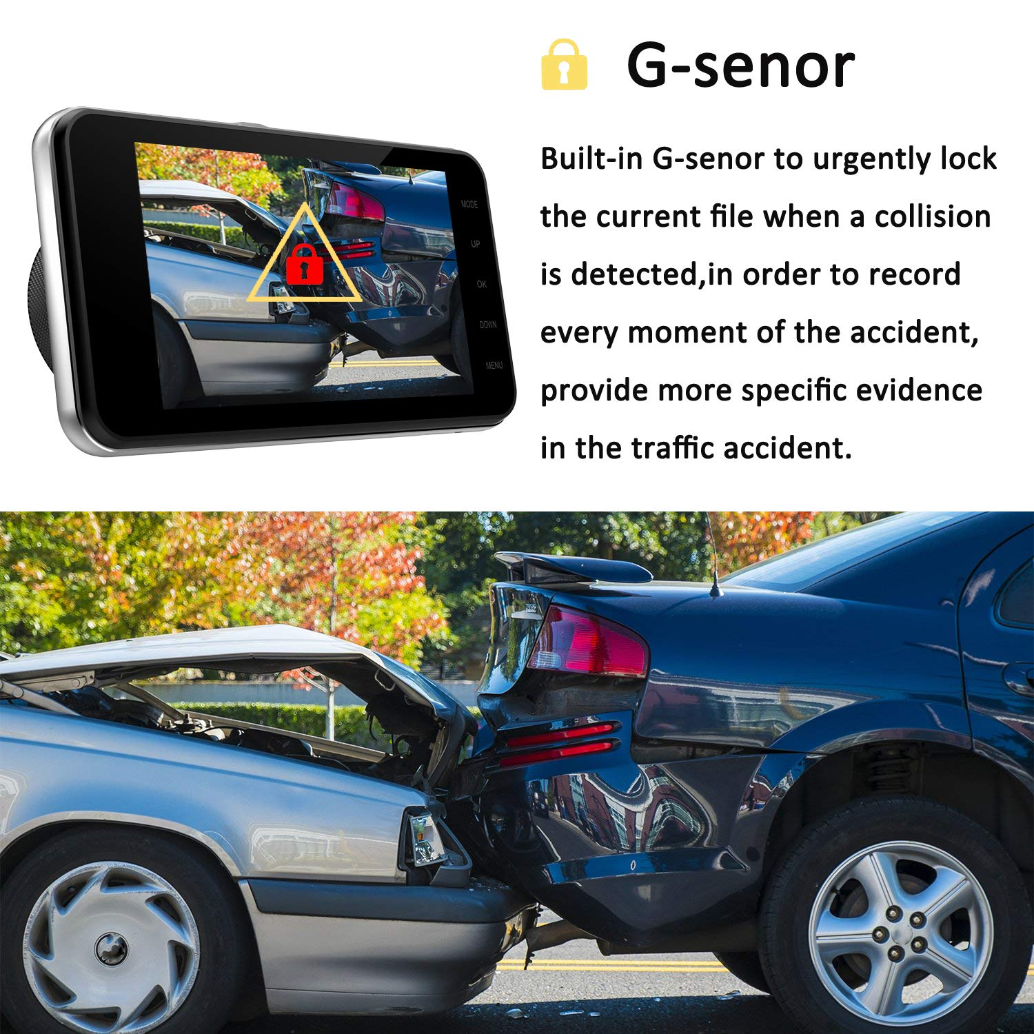 Dual Dash Cam Front and Rear, NINE CUBE 1080p HD Driving Recorder,Car DVR Dashboard Camera, 4'' IPS Screen, 170° Super Wide Angle, G Sensor, Loop Recording, Parking Monitor, Motion Detection by NINE CUBE (Image #4)