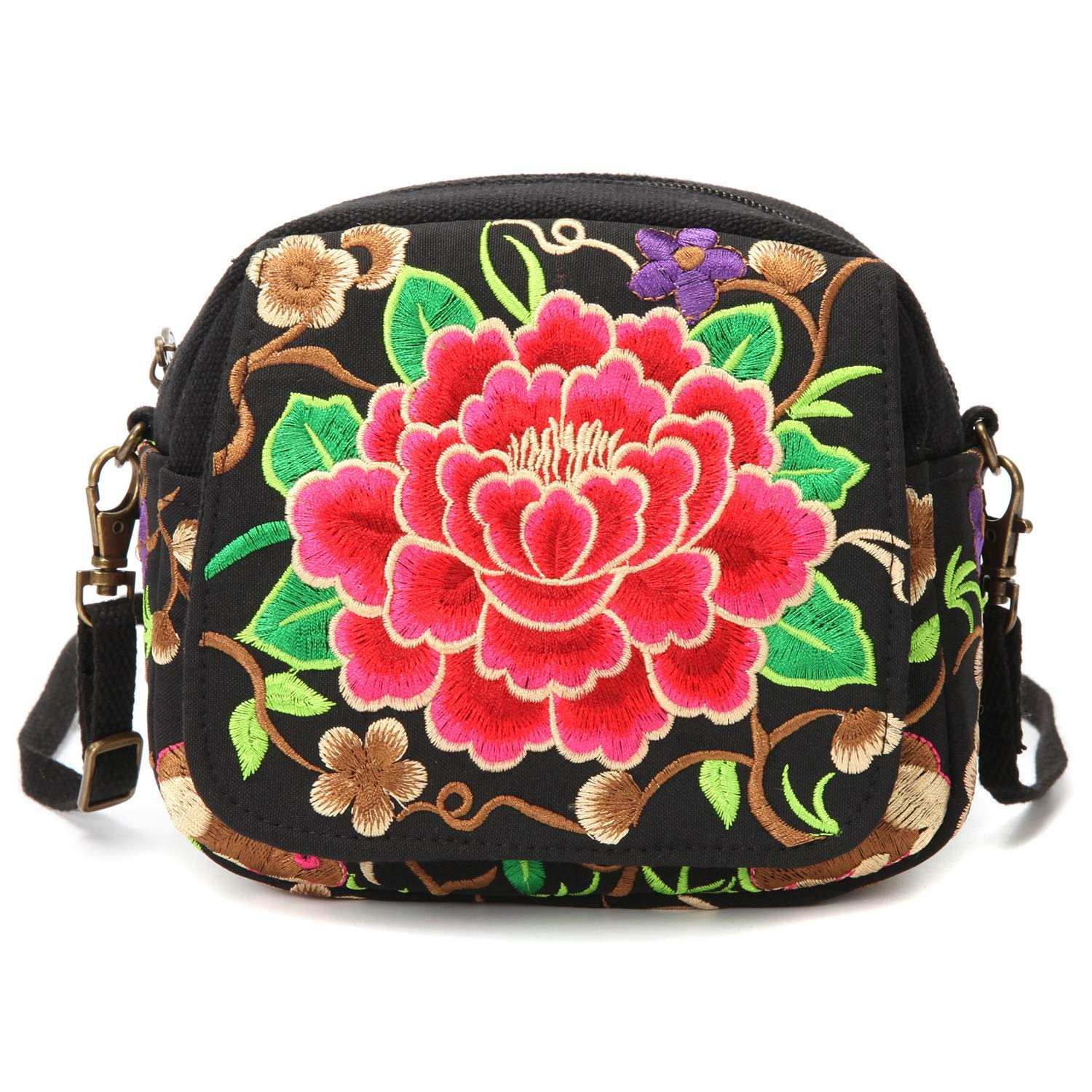 Embroidered Small Crossbody Bag for Women, Cell Phone Purse Wristlet Handbag (Red Rose)