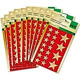 Sigel CS100 Lot de stickers de Noël, Big golden Stars, 30 feuilles, étoiles dorées