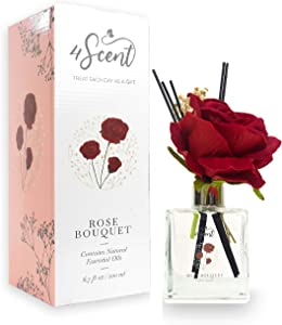 4SCENT Reed Diffuser Set 6.7 fl oz with Preserved Gypsophila (Baby's Breath) and Artificial Rose for Home Fragrance and Decor   Aromatherapy with Essential Oil and Rattan Sticks   Rose Bouquet