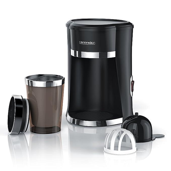 Arendo - OneCup Cafetera rápida para una taza con vaso térmico de 300 ml | potencia de entrada: 420 W | filtro permanente de nailon (extraíble) para un café ...