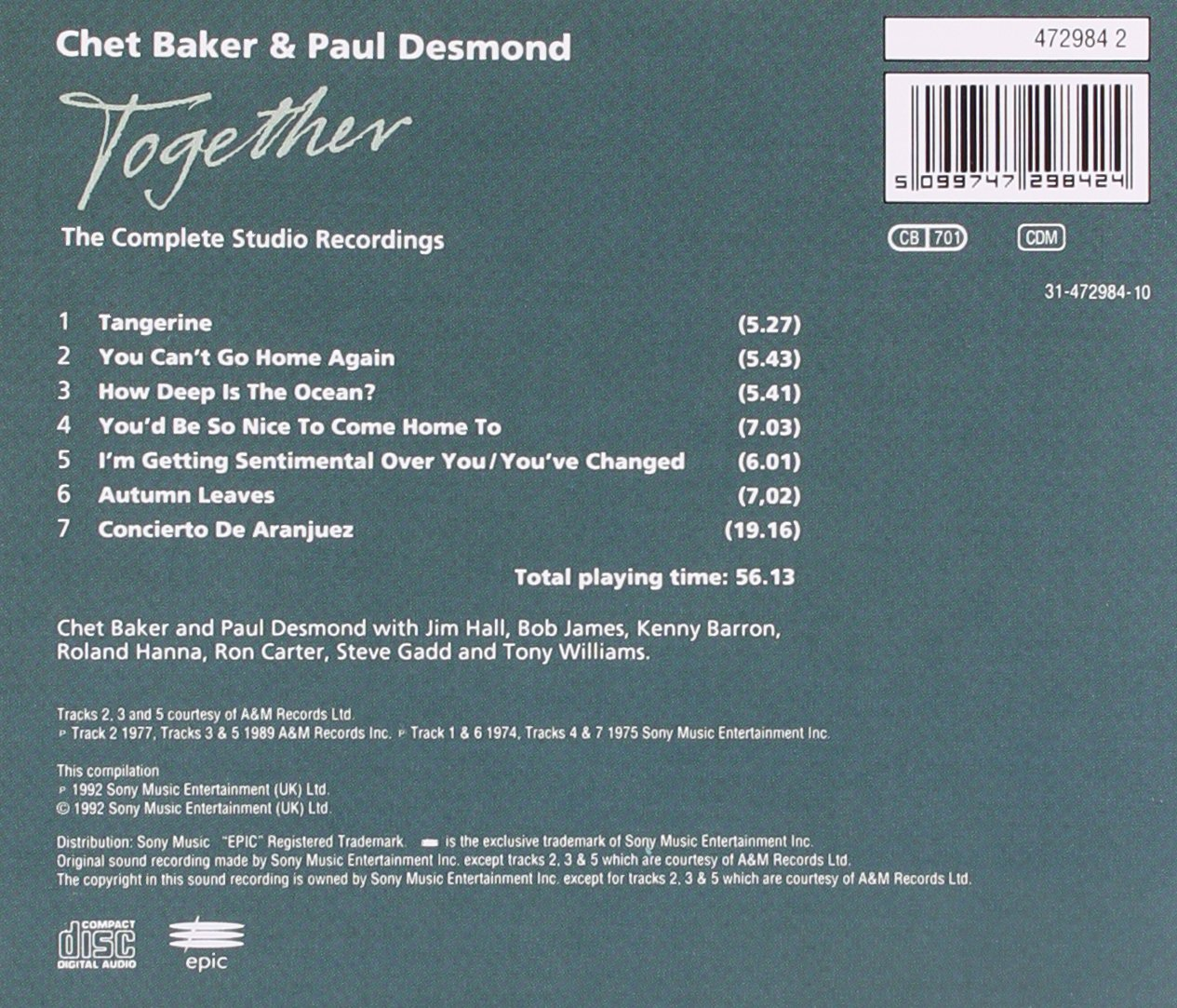 Image courtesy em the baker this image is for representation purpose - Chet Desmond Paul Baker Together Complete Studio Recordings Amazon Com Music