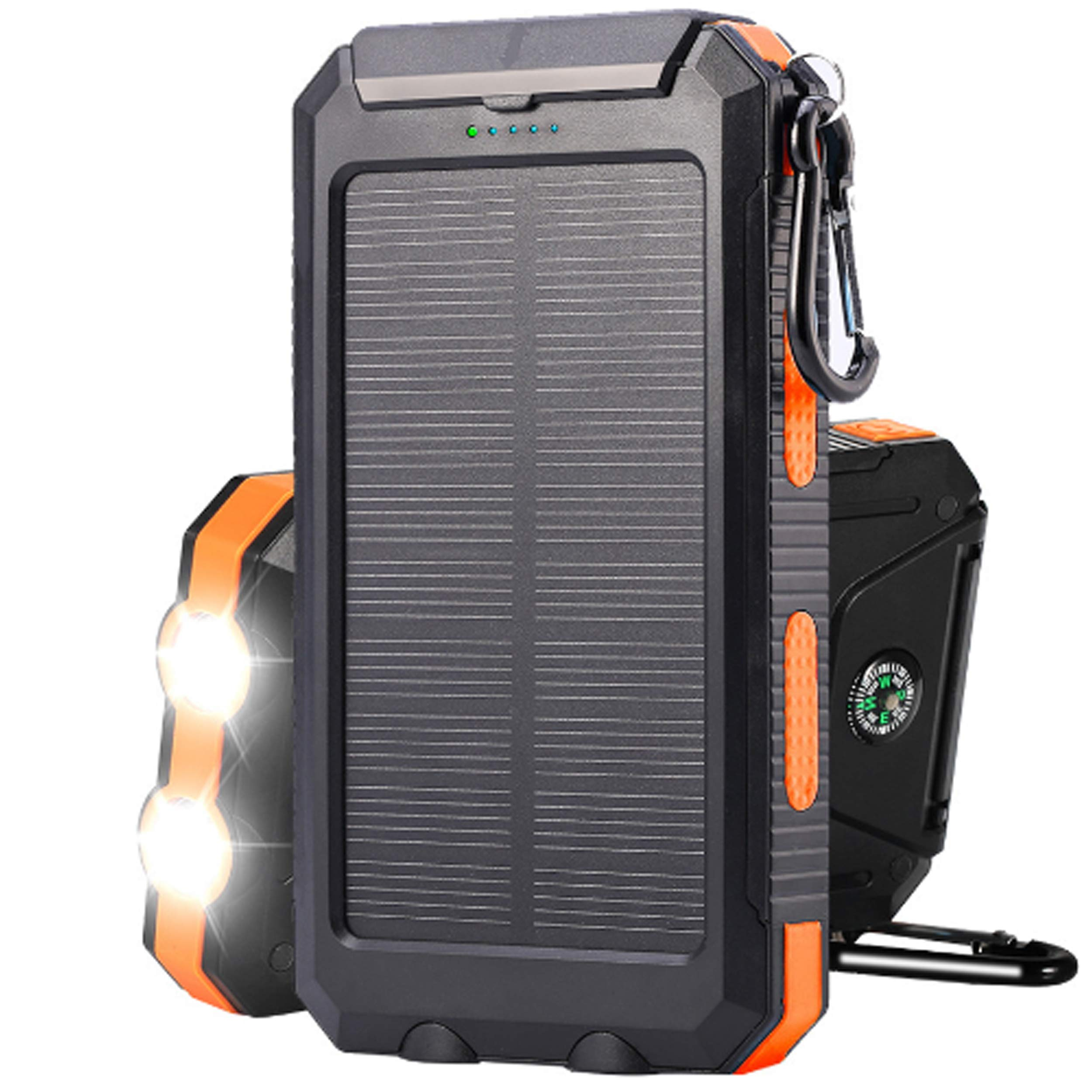 Bysionics Solar Phone Charger,Portable Charger Solar Charger Power Bank 12000mah External Backup Battery Pack Dual USB with 2LED Light Carabiner and Compass for Your Smartphones and More (Orange)