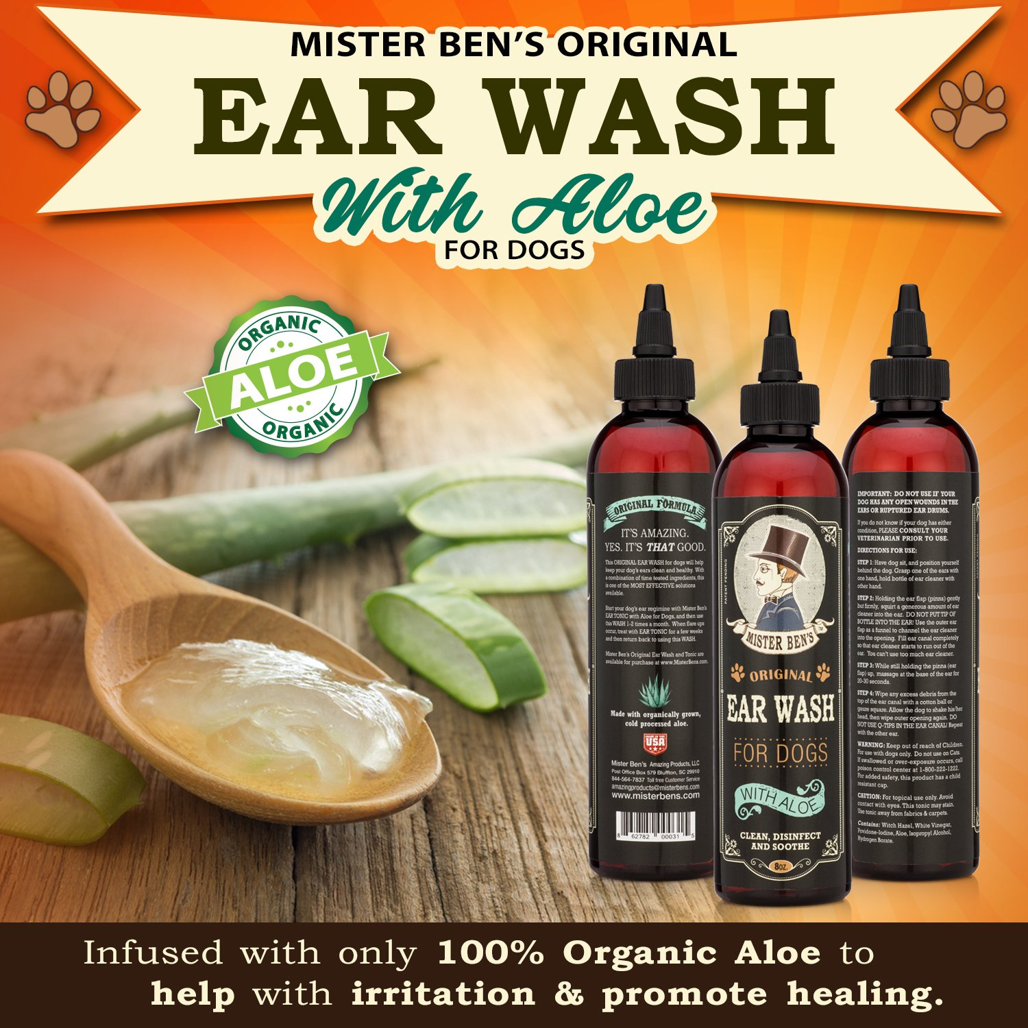 Mister Ben's MOST EFFECTIVE DOG EAR WASH Voted the Best Dog Ear Cleaner - Provides FAST RELIEF from Dog Ear Infections, Irritations, Itching, Odors, Bacteria, Mites, Fungus & Yeast by Mister Ben's (Image #2)