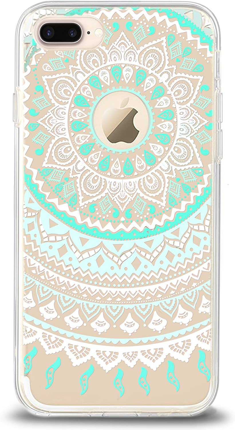 Ailun Phone Case Compatible with iPhone 8 Plus 7 Plus Solid Acrylic Back Reinforced Soft Clear TPU Frame Ultra Slim Shock Absorption Bumper Anti Scratch Cover Mandala MintGreen