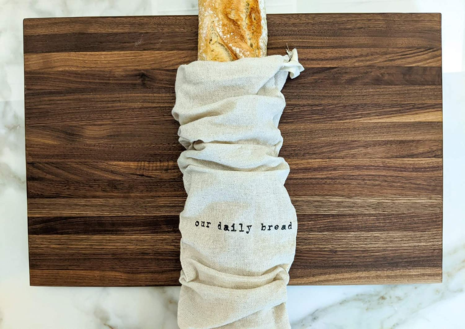 Montecito Home Set of 2 Natural Linen Bread Bags (1 Boule &1 Baguette), Reusable Drawstring Bag Homemade Bread Storage, Perfect for Bakers, House Warming,